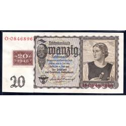 Германия 20 марок 1948 год, зона Советских войск (Germany 20 Mark 1948 year, Soviet Occupation) P 5A: UNC