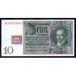 Германия 10 марок 1948 год, зона Советских войск (Germany 10 Mark 1948 year, Soviet Occupation) P 4b: UNC