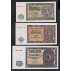 Германия, ГДР полный набор от 5 до 100 марок 1955 год (Germany DDR complete set  5-100 mark 1955 year) P 17-21: UNC