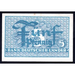 ФРГ 5 пфениннгов 1948 год, синий аверс (GFR 5 pfennig 1948 year) P 11: UNC