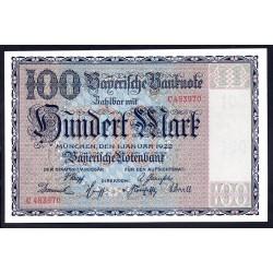 Земельные деньги, Баварский Банк 100 марок, Мюнхен 1922 год (Bayerische Banknote 100 mark 1922 Landerbanknote) PS 923: UNC
