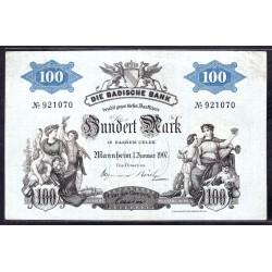 Земельные деньги, Баденский Банк 100 марок 1907 год (Badische Bank 100 mark 1907 Landerbanknote) PS 906: aU