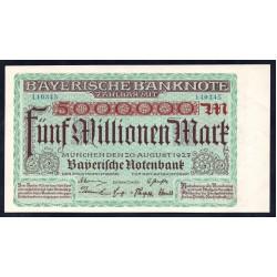 Земельные деньги, Баварский Банк 5 миллионов марок, Мюнхен 1923 год (Bayershe Banknote 5 millionen mark 1923 Landerbanknote) PS 932: UNC