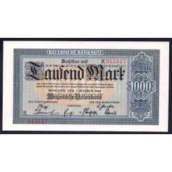 Земельные деньги, Баварский Банк 1000 марок, Мюнхен 1922 год (Bayershe Banknote 1000 mark 1922 Landerbanknote) PS 924: UNC