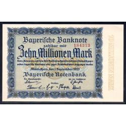 Земельные деньги, Баварский Банк 10 миллионов марок, Мюнхен 1923 год (Bayershe Banknote 10 millionen mark 1923 Landerbanknote) PS 935: UNC