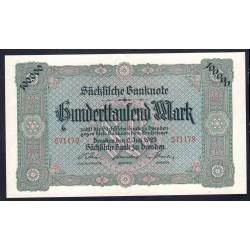 Земельные деньги, Саксонский Банк 100000 марок, Дрезден 1923 год (Sachsische Bank 100000 mark 1923 Landerbanknote) PS 960: UNC