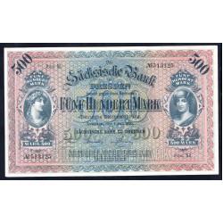 Земельные деньги, Саксонский Банк 500 марок, Дрезден 1922 год (Sachsische Bank 500 mark 1922 Landerbanknote) PS 954: UNC