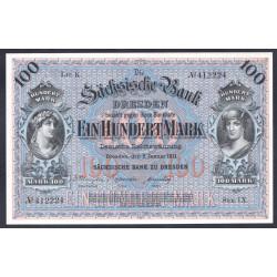 Земельные деньги, Саксонский Банк 100 марок, Дрезден 1911 год (Sachsische Bank 100 mark 1911 Landerbanknote) PS 952b: UNC