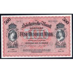 Земельные деньги, Саксонский Банк 500 марок, Дрезден 1911 год (Sachsische Bank 500 mark 1911 Landerbanknote) PS 953b: UNC