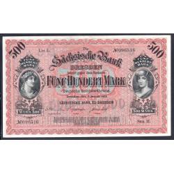 Земельные деньги, Саксонский Банк 500 марок, Дрезден 1911 год (Sachsische Bank 500 mark 1911 Landerbanknote) PS 953b: aU