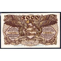 Земельные деньги, Баденский Банк 5000 марок 1922 год (Badische Bank 5000 mark 1922 Landerbanknote) PS 909: UNC-