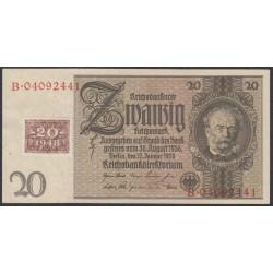 Германия 20 марок 1948 год, зона Советских войск, с красным шрифтом (Germany 20 Mark 1948 year, Soviet Occupation) P 5b: UNC