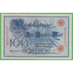 Германия 100 марок 1908 год (Germany 100 Mark 1908 year) P 33а: UNC