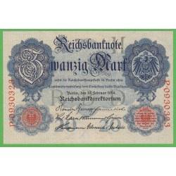 Германия 20 марок 1914 год (Germany 20 Mark 1914 year) P 46b: UNC