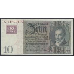 Германия 10 марок 1948 год, зона Советских войск (Germany 10 Mark 1948 year, Soviet Occupation) P 4a: UNC