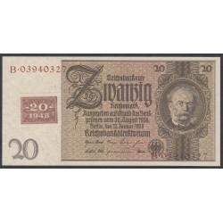 Германия 20 марок 1948 год, зона Советских войск, с коричневым шрифтом (Germany 20 Mark 1948 year, Soviet Occupation) P 5b: UNC