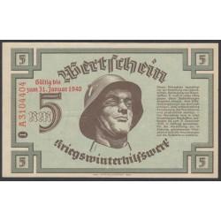 Германия, зимняя помощь 5 рейхсмарок 1940 год, 2 выпуск (Germany Kriegswinterhilfswerk 5 reichsmark 1940 year) :UNC