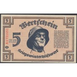 Германия, зимняя помощь 5 рейхсмарок 1940 год, 3 выпуск (Germany Kriegswinterhilfswerk 5 reichsmark 1940 year) :UNC