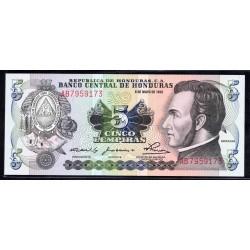 Гондурас 5 лемпир 1980 г. (HONDURAS 5 Lempiras 1980) P63а:Unc