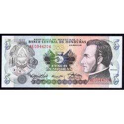 Гондурас 5 лемпир 1989 г. (HONDURAS 5 Lempiras 1989) P63b:Unc