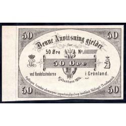 Гренландия 50 эре 1874 г. (GREENLAND 50 Øre 1874) PA37:Unc