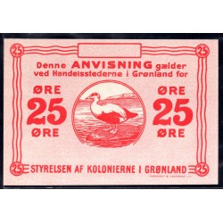 Гренландия 25 эре ND (1913 г.) (GREENLAND 25 Øre ND (1913)) P11r:Unc