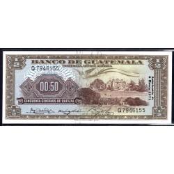 Гватемала 0,50 кетсаль 1971 г. (GUATEMALA 50 Centavos de Quetzal 1971 g.) P51h:Unc