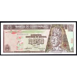 Гватемала 0,50 кетсаль 1992 г. (GUATEMALA 50 Centavos de Quetzal 1992 g.) P72b:Unc