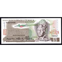 Гватемала 0,50 кетсаль 1975 г. (GUATEMALA 50 Centavos de Quetzal 1975 g.) P58b:Unc
