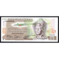 Гватемала 0,50 кетсаль 1983 г. (GUATEMALA 50 Centavos de Quetzal 1983 g.) P58с:Unc