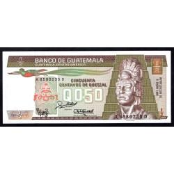 Гватемала 0,50 кетсаль 1988 г. (GUATEMALA 50 Centavos de Quetzal 1988 g.) P65:Unc