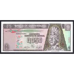 Гватемала 0,50 кетсаль 1989 г. (GUATEMALA 50 Centavos de Quetzal 1989 g.) P72а:Unc