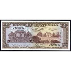 Гватемала 0,50 кетсаль 1972 г. (GUATEMALA 50 Centavos de Quetzal 1972 g.) P51i:Unc