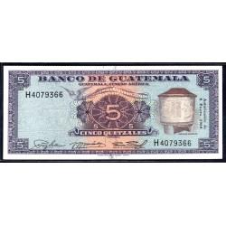 Гватемала 5 кетсаль 1964 г. (GUATEMALA 5 Quetzales 1964 g.) P45f:Unc