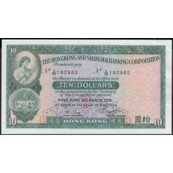 Гонконг 10 долларов 1981 год (Hong Kong 10 dollars 1981 year) P 182i:aUnc
