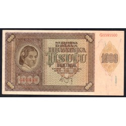 Хорватия 1000 куна 1941 г. (CROATIA 1000 Kuna 1941) P4:Unc-