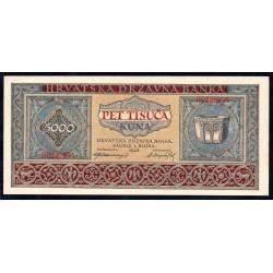 Хорватия 5000 куна 1943 г. (CROATIA 5000 Kuna 1943) P13:Unc