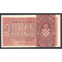 Хорватия 2 куны 1942 г. (CROATIA 2 Kune 1942) P8а:Unc