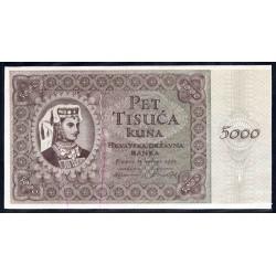 Хорватия 5000 куна 1943 г. (CROATIA 5000 Kuna 1943) P14:Unc