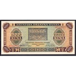 Хорватия 1000 куна 1943 г. (CROATIA 1000 Kuna 1943) P12:Unc