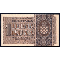 Хорватия 1 куна 1942 г. (CROATIA 1 Kuna 1942) P7а:Unc