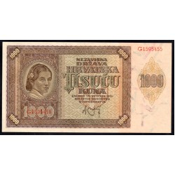 Хорватия 1000 куна 1941 г. (CROATIA 1000 Kuna 1941) P4:Unc
