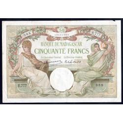 Мадагаскар 50 франков ND (1937 г.) (MADAGASCAR 50 francs ND (1937 g.)) P38:VF+