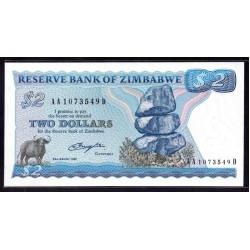 Зимбабве 2 доллара 1980 год (ZIMBABWE  2 dollars 1980 g.) P1а:Unc