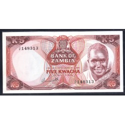 Замбия 5 квача ND (1976 год) (ZAMBIA 5  kwacha ND (1976 g.)) P21:Unc