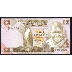 Замбия 2 квача ND (1980 - 1988 год) (ZAMBIA 2 kwacha ND (1980 - 1988 g.)) P24c:Unc