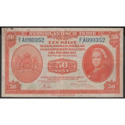 Индонезия (колония Нидерландов) 50 центов 1943 г. (Indonesia (Netherlands colony) 50 cent 1943 year) P110a:VF