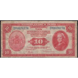 Индонезия (колония Нидерландов) 10 гульден 1943 г. (Indonesia (Netherlands colony) 10 gulden 1943 year) P114:VF