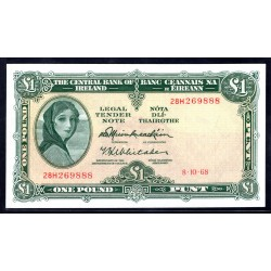 Ирландия 1 фунт 1968 г. (IRELAND 1 Pound 1968) P64а:Unc