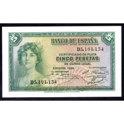 Испания 5 песет 1935 г. (SPAIN 5 Pesetas 1935) P85а:Unc